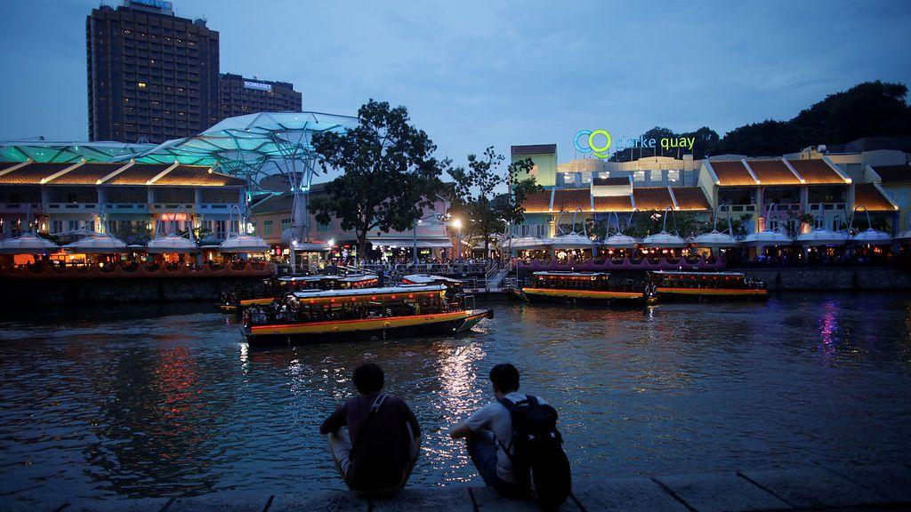 Vista nocturna del Clarke Quay