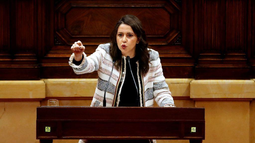 Inés Arrimadas, durante su intervención en el Parlament de Catalunya el 24 de marzo de 2018.