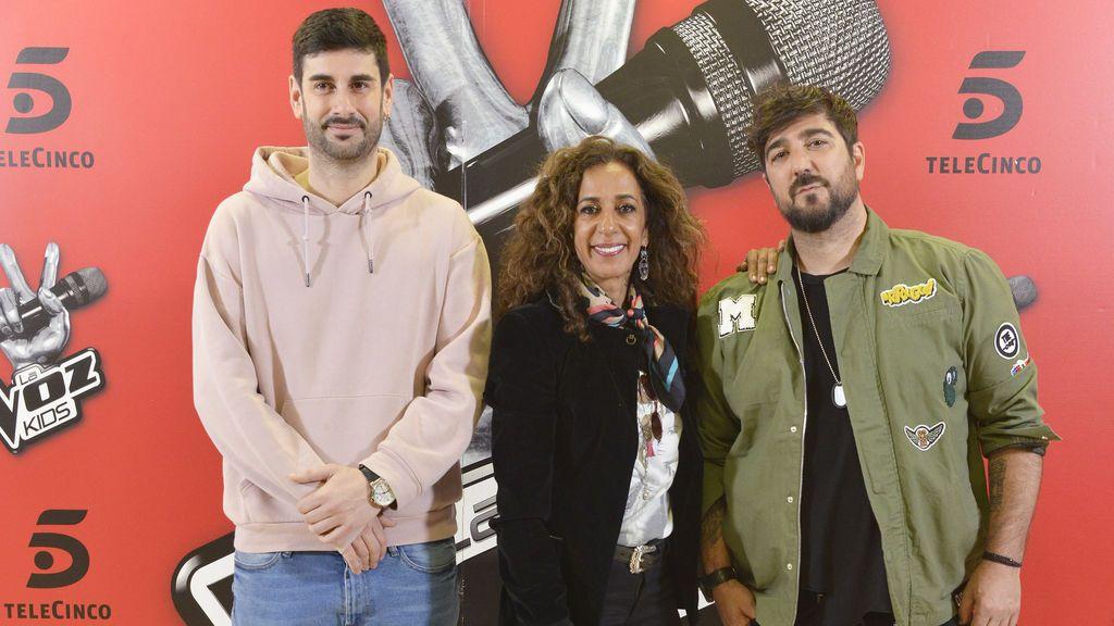 Melendi, Rosario Flores y Antonio Orozco, los 'coaches' de 'La voz kids 4'.