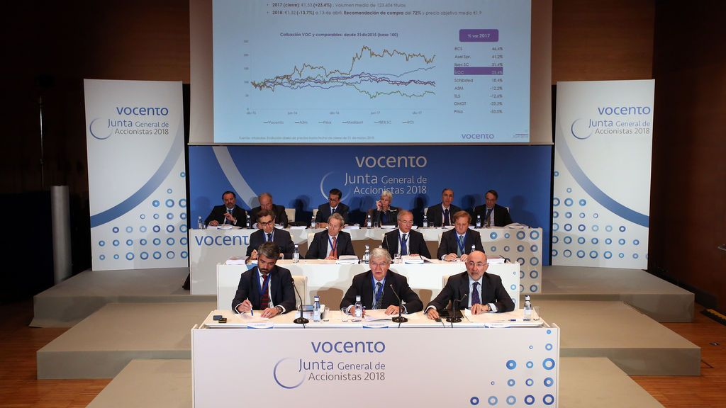 Junta de General de Accionistas de Vocento 2018, en el Palacio Euskalduna de Congresos de Bilbao.