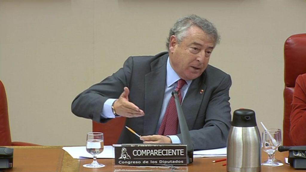 El presidente de RTVE, José Antonio Sánchez, durante su comparecencia en la Comisión de Presupuestos del Congreso.