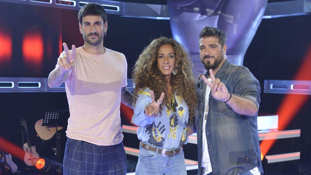 Melendi, Rosario y Antonio Orozco, en el acto de presentación de la cuarta edición de 'La voz kids'.