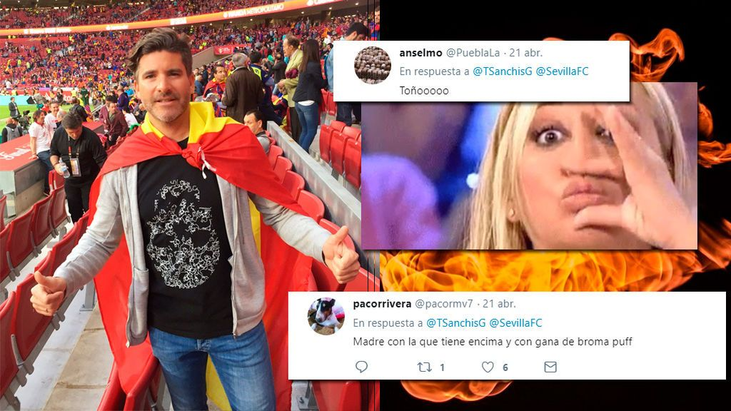 """¡'Toñazo' copero! Los hinchas del Barça la toman con Toño Sanchís después de su """"vamos Sevilla"""" y su """"viva España"""""""