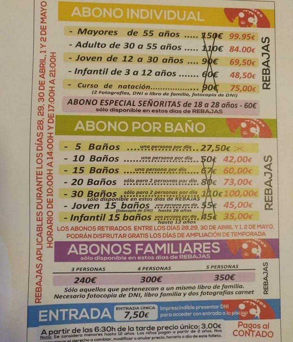 """Denuncian """"publicidad sexista"""" en el folleto de una piscina de Linares"""