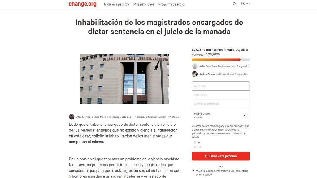 Más de 800.000 firmas piden la inhabilitación de los jueces del caso 'Manada'