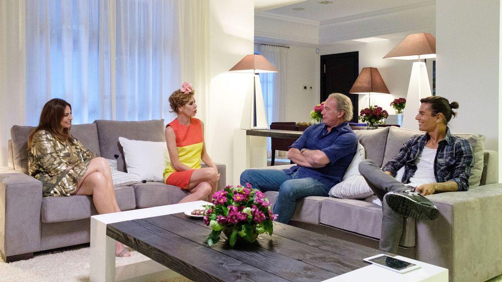 Mariló Montero, Ágatha Ruiz de la Prada, Bertín Osborne y Julio Iglesias Jr, en 'Mi casa es la vuestra'.