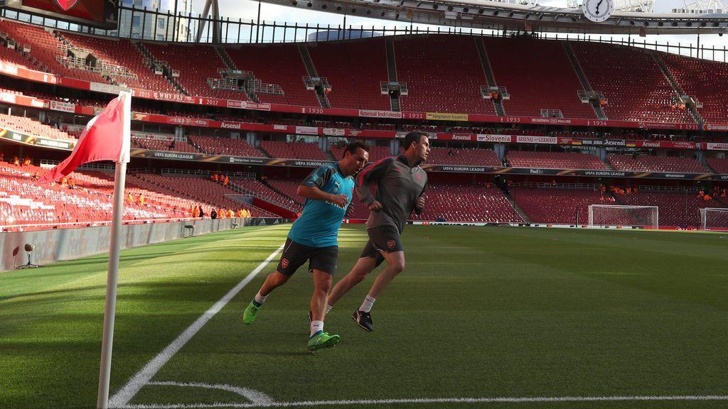 La mejor de las noticias en el Emirates: Santi Cazorla se entrenó antes del Arsenal-Atleti
