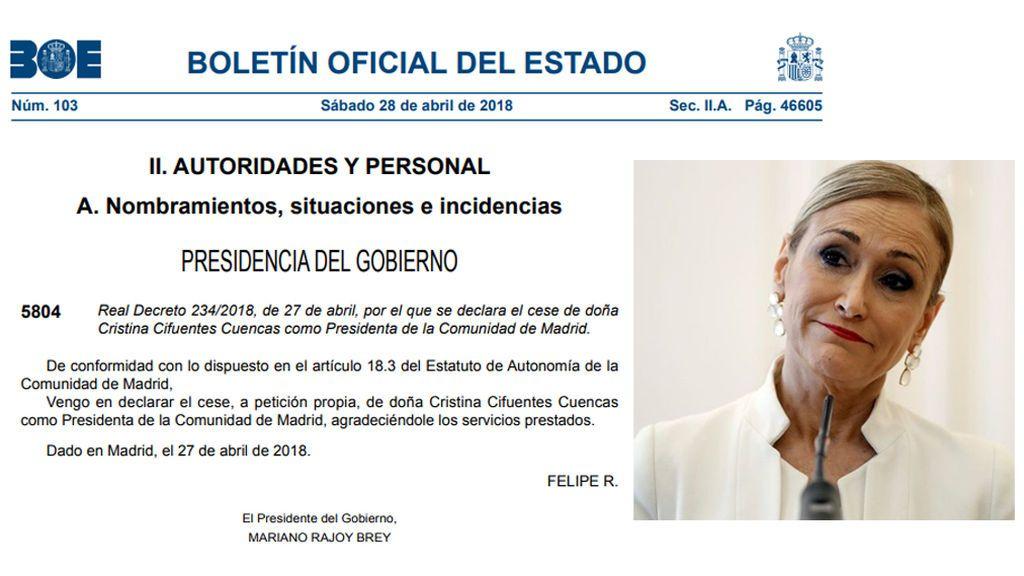 El BOE publica el cese de Cifuentes como presidenta de la Comunidad de Madrid
