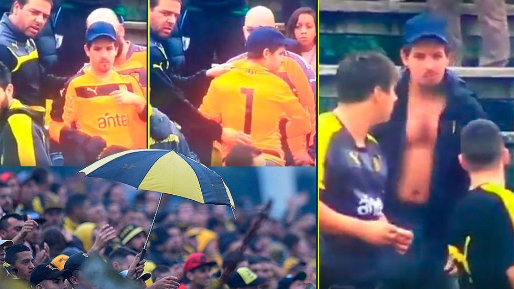 Un hincha 100% comprometido: le deja su camiseta al portero de Peñarol para que el árbitro le deje jugar