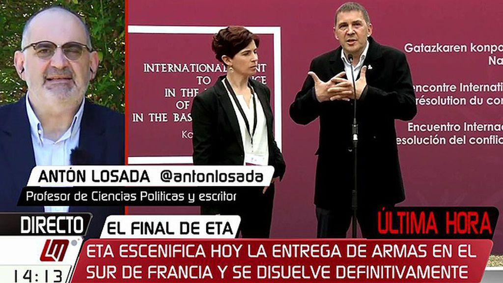 """Antón Losada: """"La izquierda abertzale se quita la sombra siniestra de ETA y la paz en Euskadi no tiene marcha atrás"""""""