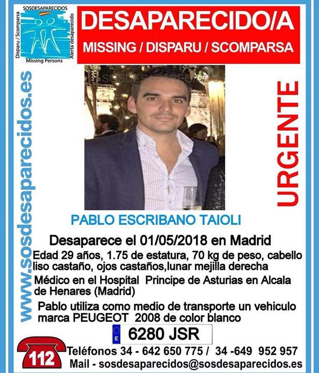 Buscan a Pablo Escribano, un joven médico desaparecido en Madrid