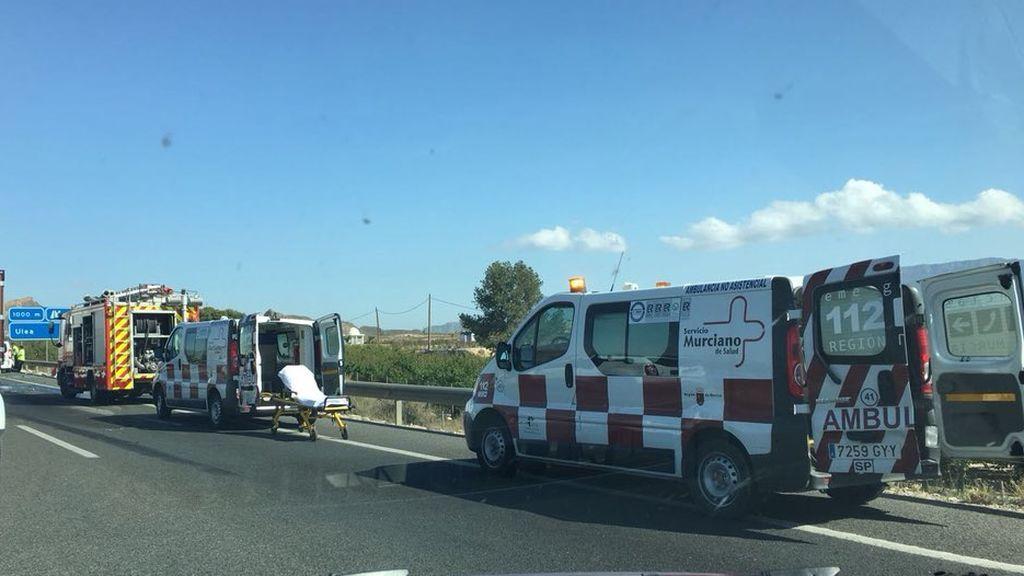 Un choque múltiple deja cinco heridos en la A-30 en Murcia