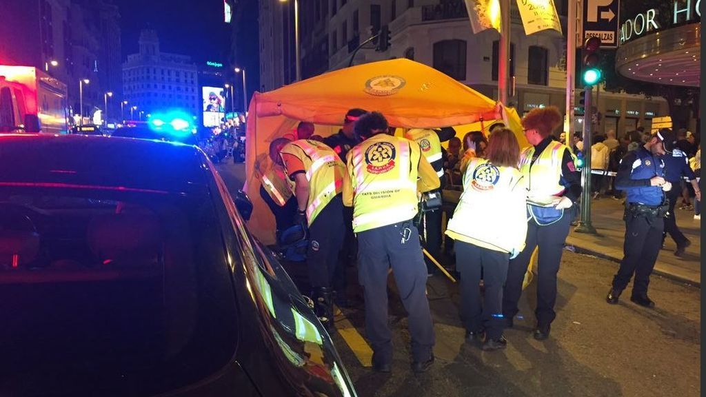 Un hombre en estado muy grave tras ser atropellado en la Gran Vía de Madrid