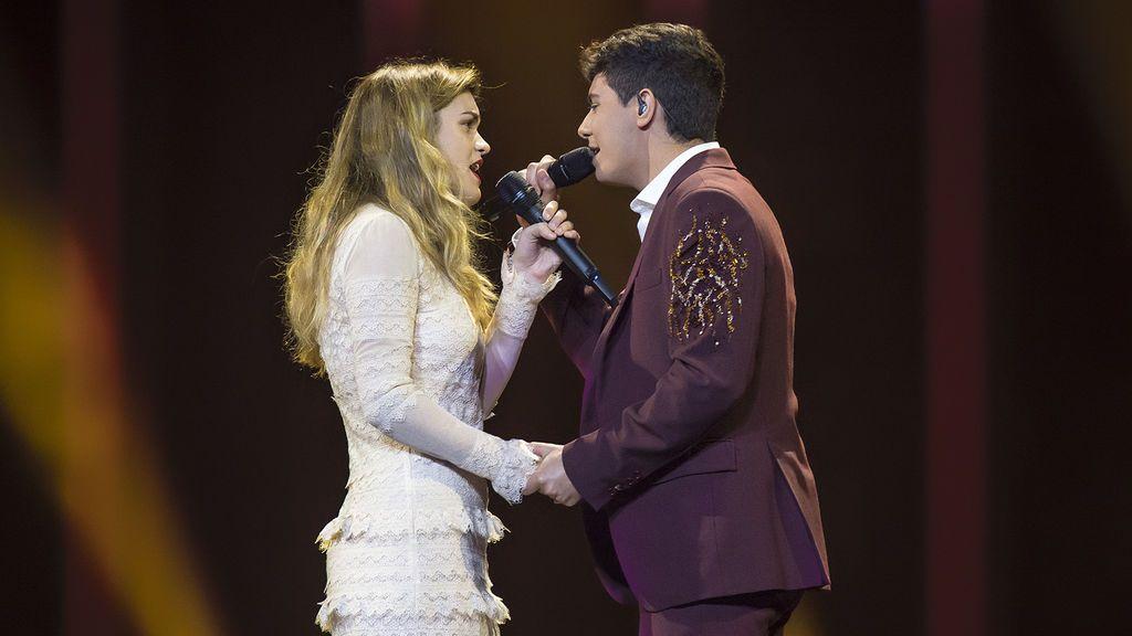 Amaia y Alfred, durante el primer ensayo general de la primera semifinal del Festival de Eurovisión en el Altice Arena, el 7 de mayo de 2018.