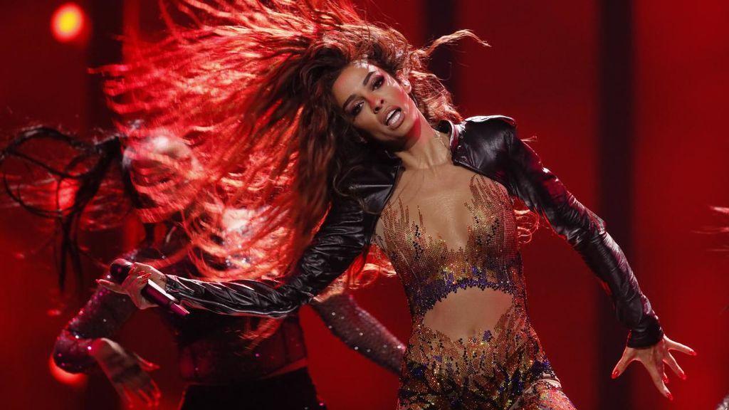 La chipriota Eleni Foureira, durante su actuación en la primera semifinal de Eurovisión 2018.