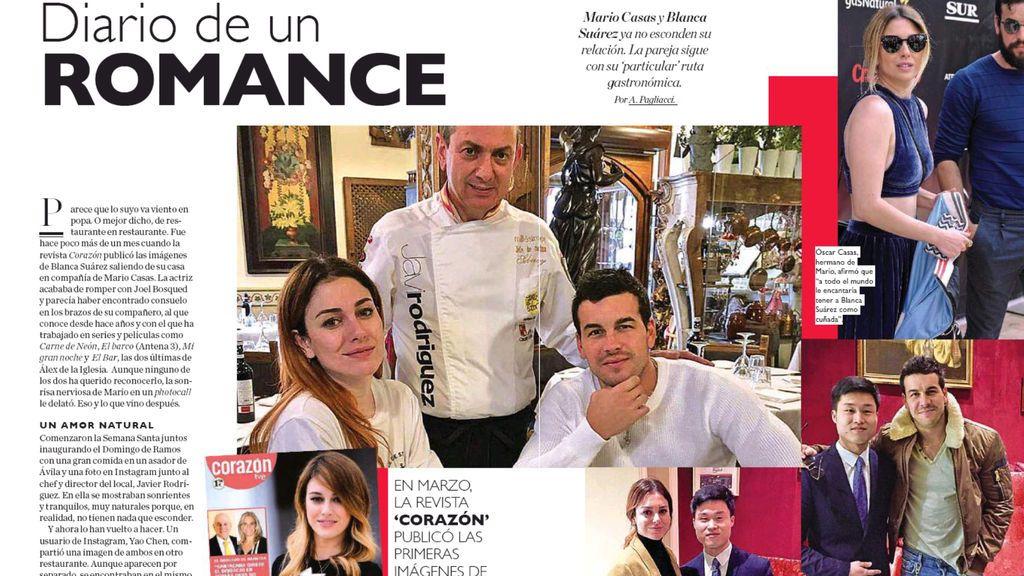 Imágenes del beso de Mario Casas y Blanca Suárez, en la revista 'Corazón'.