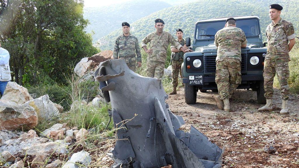 Restos de un misil que ha impactado en Líbano