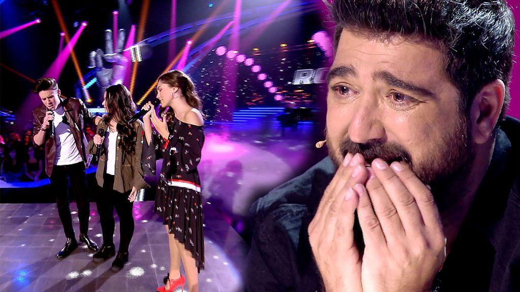 Orozco se rompe ante la actuación de los tres ganadores de 'La Voz Kids'