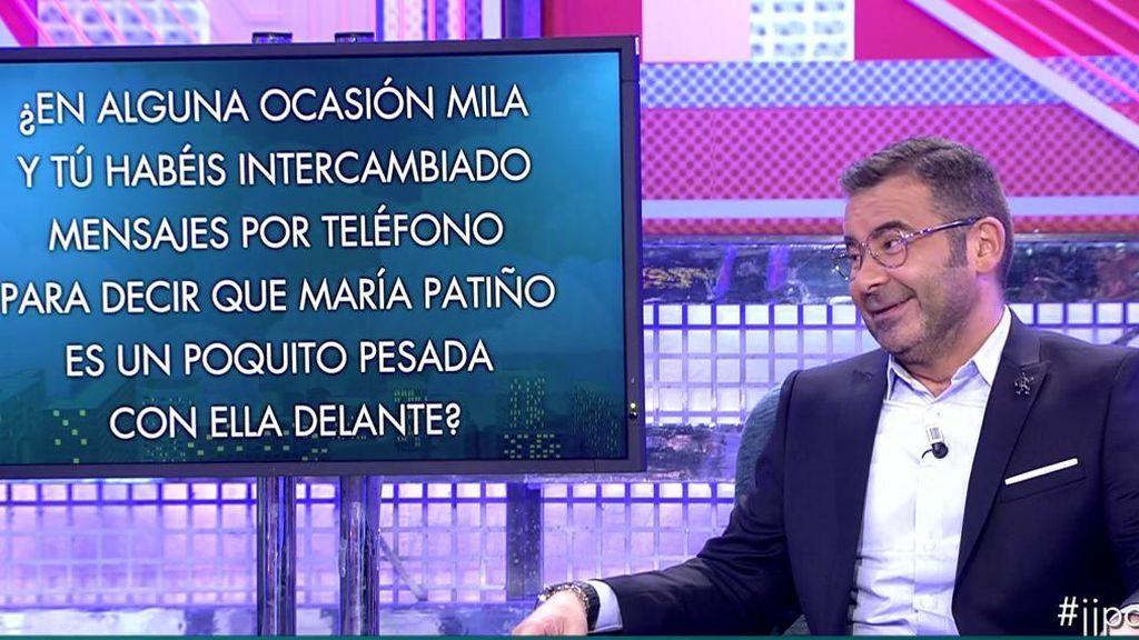 La verdad sale a la luz: Jorge Javier y Mila han intercambiado mensajes diciendo que Patiño era una pesada… ¡con ella delante!