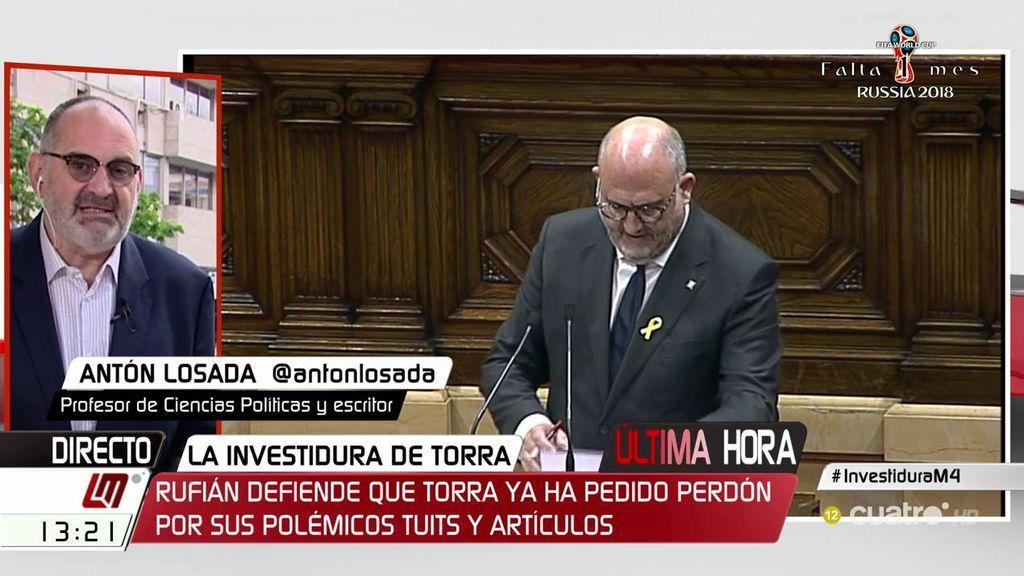 """Antón Losada, sobre los polémicos tuits de Torra: """"Ha hecho lo que uno tiene que hacer cuando comete una estupidez, pedir disculpas"""""""