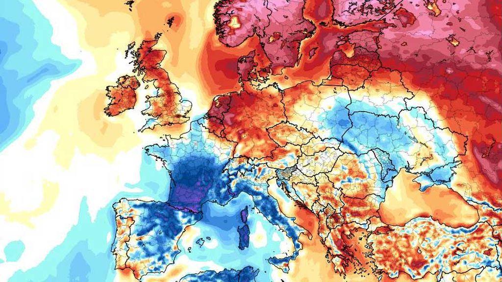 Europa, dividida en dos: calor extremo en Rusia y Finlandia; frío en Francia, España e Italia