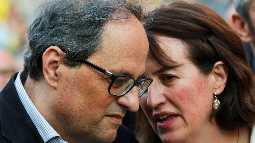 El presidente de la Generalitat, Quim Torra y la presidenta de la ANC, Elisenda Paluzie