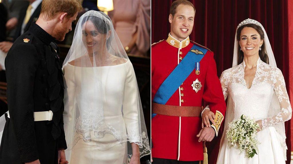 El de Meghan Markle de hoy o el de Kate Middleton de 2011: con qué vestido de novia te quedas