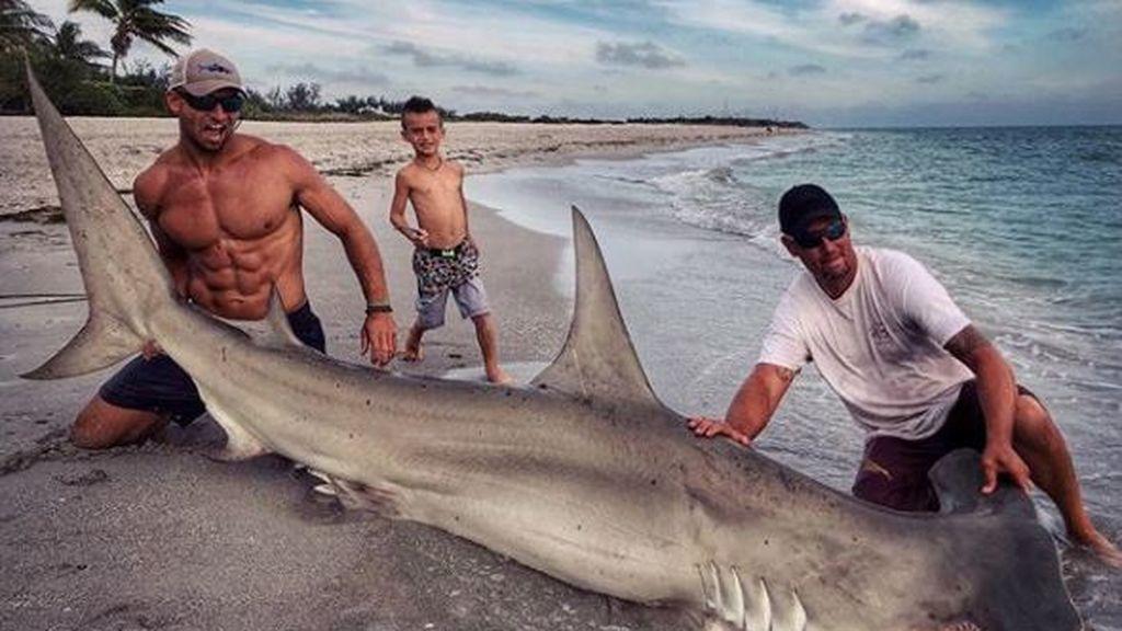 Caza un tiburón y la Red se le echa encima, pero no por el animal
