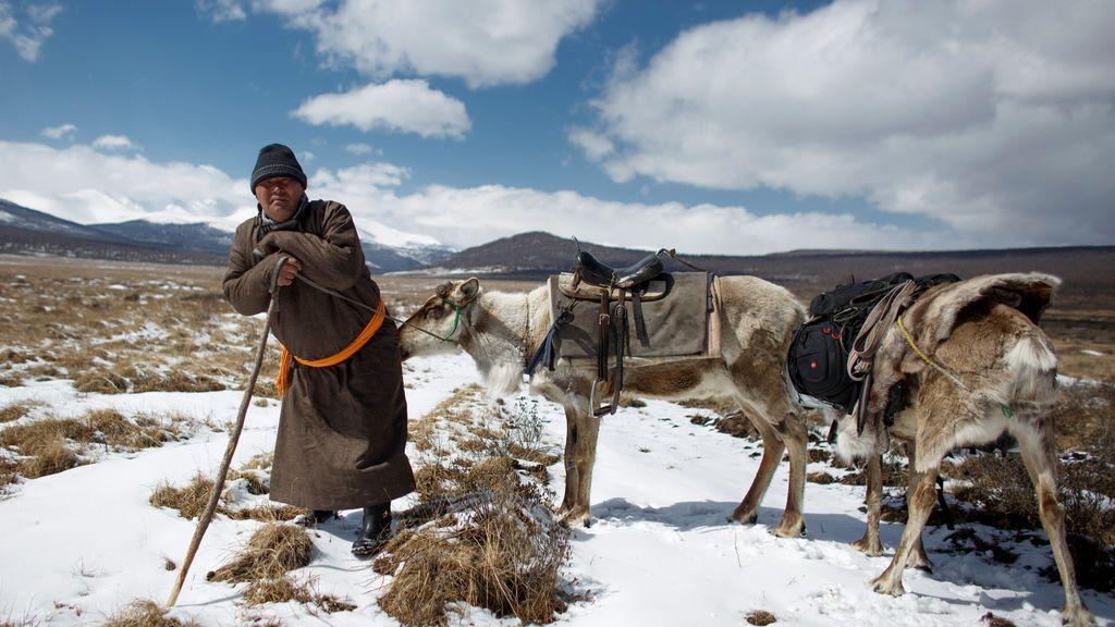 Pastor de renos en Mongolia