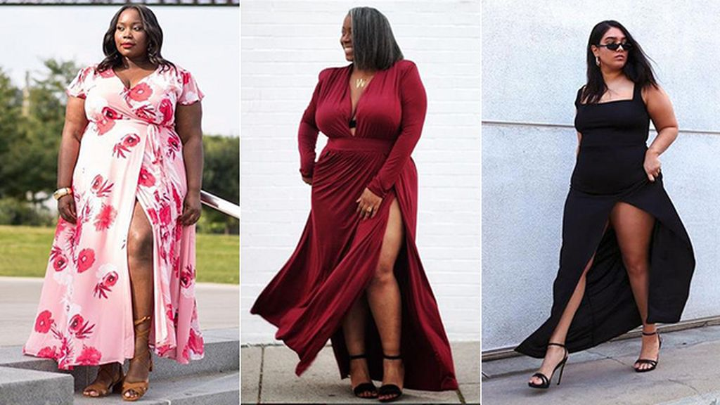 moda caliente diversos estilos comprar 7 ideas para vestir de fiesta con una XL o XXL