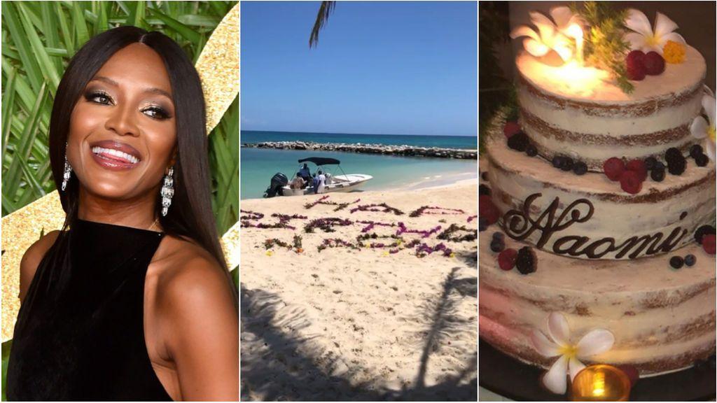 Mensaje en la arena, tarta de tres pisos y 'twerking': el fiestón sorpresa por el 48 cumpleaños de Naomi Campbell en Kenia