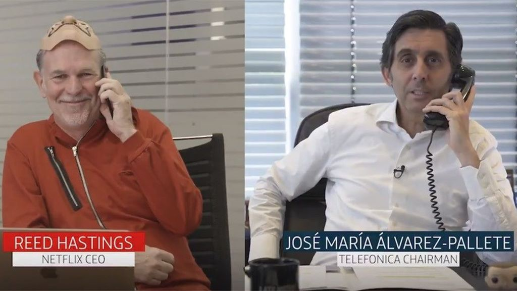 Imagen del vídeo en Twitter en el que Reed Hastings (Netflix) y José María Álvarez-Pallete (Telefónica) han anunciado el acuerdo.