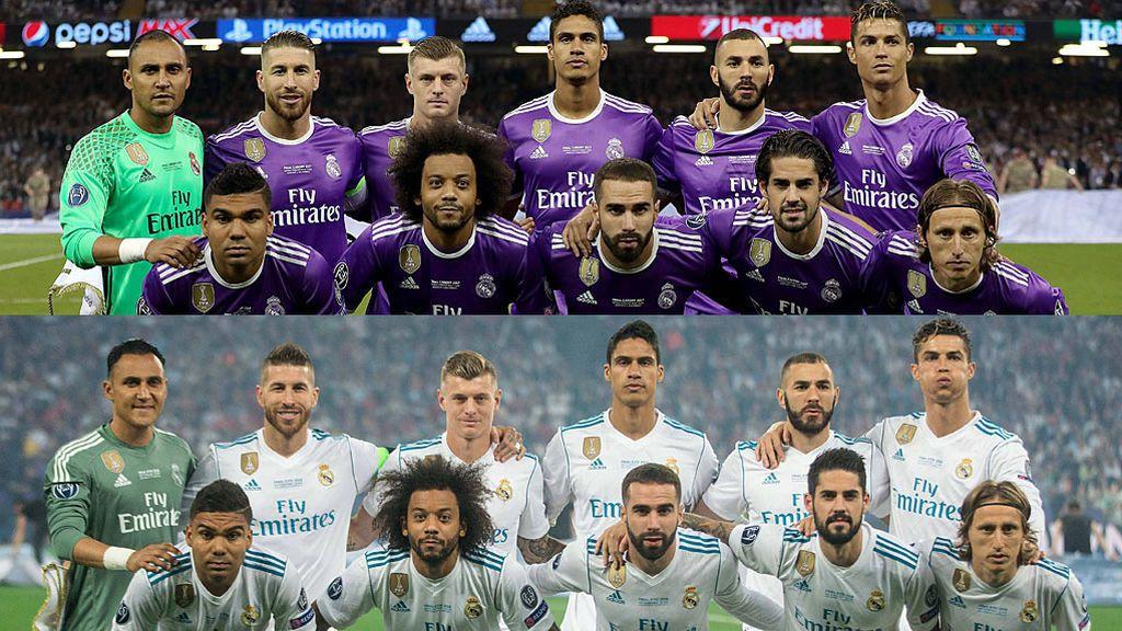 La idéntica imagen del once inicial del Real Madrid en las finales de Cardiff y Kiev