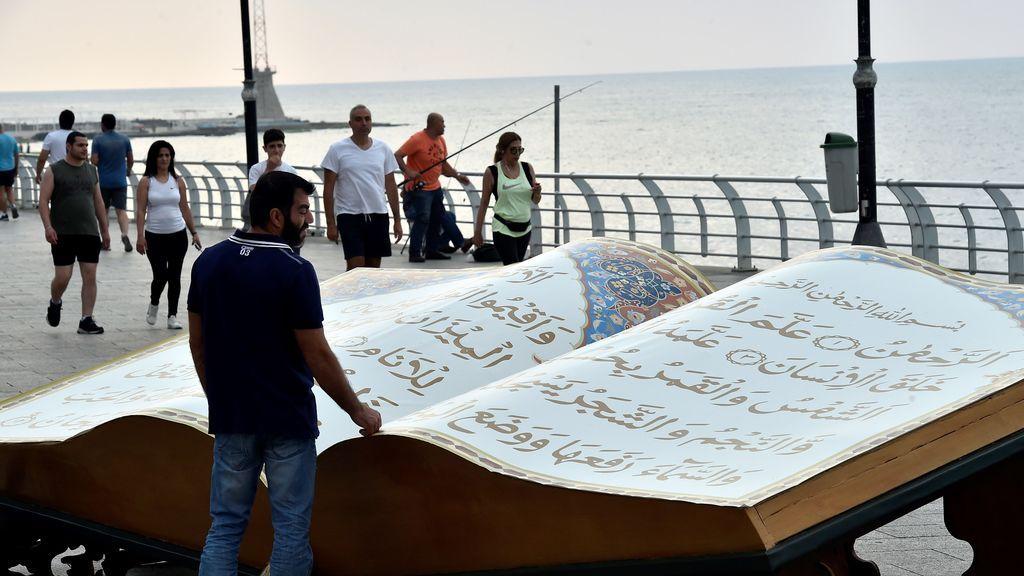 Exhibición del Corán durante el Ramadán en Líbano