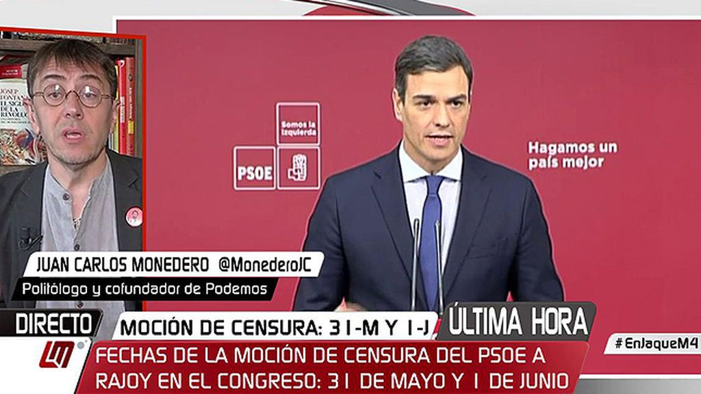 """Monedero: """"Creo que Pedro Sánchez va de camino a su tercera muerte, no sé si con resurrección"""""""