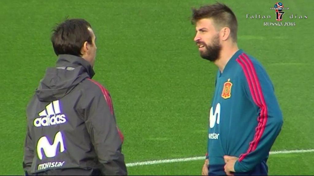 """Un aficionado, a Piqué en el entrenamiento de la Selección: """"¿Dónde está la Champions?"""""""