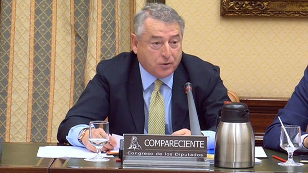 El presidente de RTVE, José Antonio Sánchez, en su comparecencia en el Congreso de los Diputados del 29 de mayo de 2018.