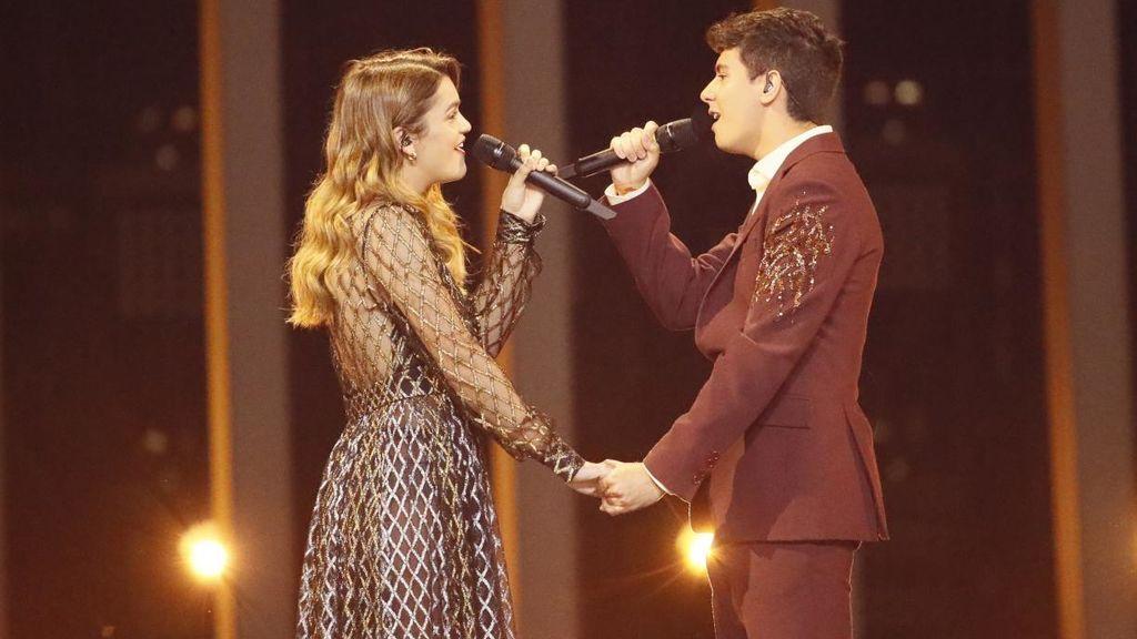 Amaia y Alfred, durante su actuación en la final de Eurovisión 2018 celebrada el 12 de mayo en Lisboa.