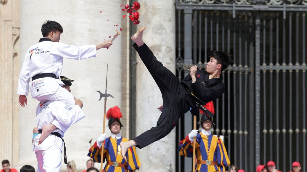 Exhibición de Taekwondo frente al Papa Francisco