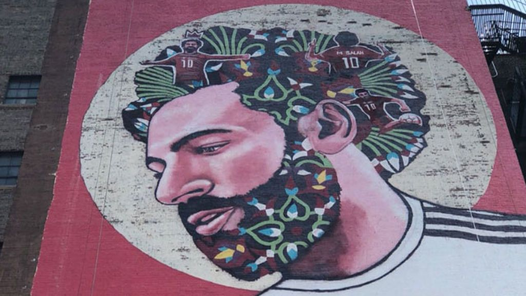 El tributo a Salah en forma de grafiti que ha aparecido en medio del Times Square