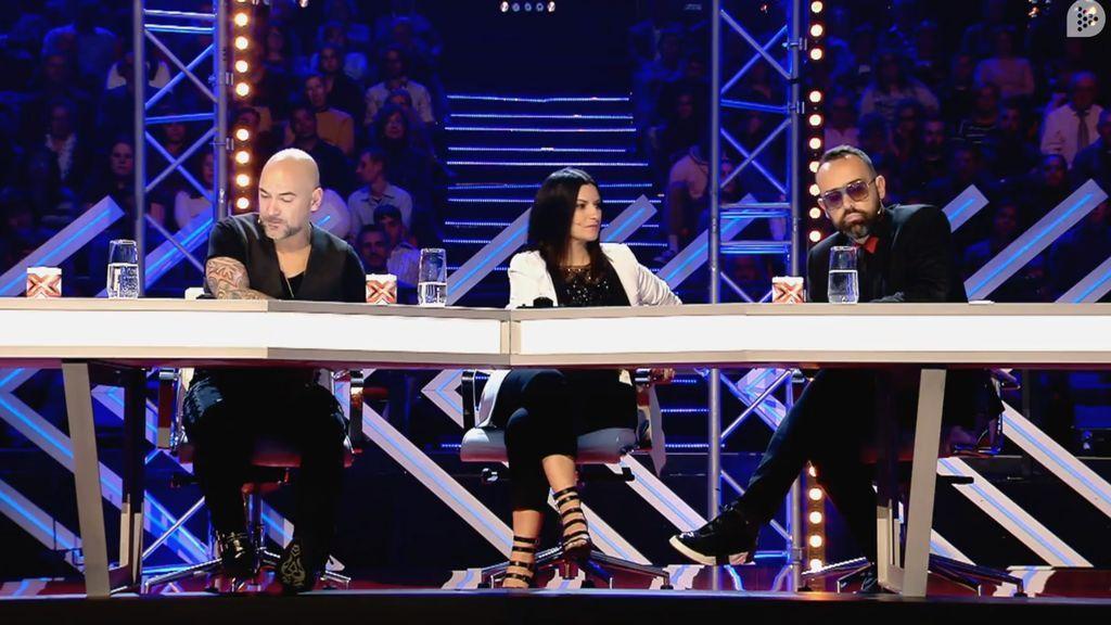 Fernando Montesinos, Laura Pausini y Risto Mejide, en la fase de 'Las sillas' de 'Factor X' el 25 de mayo de 2018.