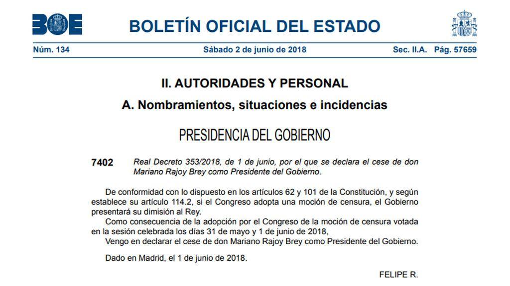 El BOE publica los reales decretos del cese de Mariano Rajoy y el nombramiento de Pedro Sánchez