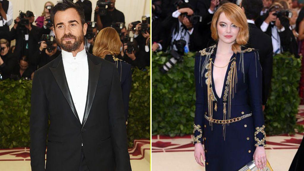 Justin Theroux y Emma Stone, en la gala del Met el 7 de mayo de 2018.
