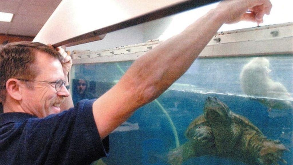 Un profesor de biología alimenta a una tortuga con un cachorro moribundo