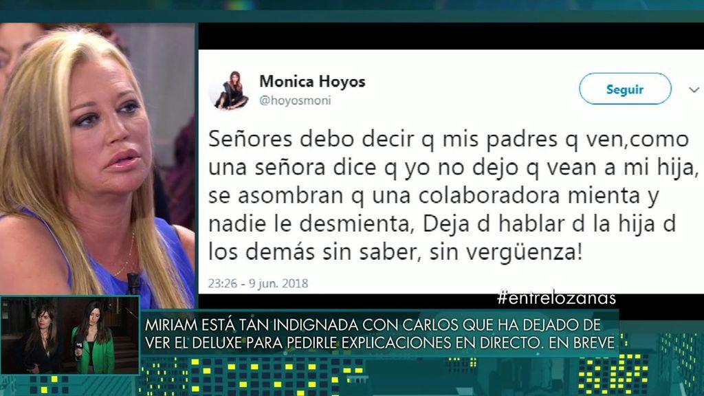"""Mónica Hoyos reacciona a la entrevista de Carlos Lozano y llama """"sinvergüenza"""" a Belén Esteban"""