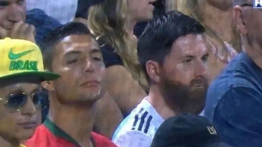 Neymar, Messi y Cristiano, juntos en un partido de béisbol en Nueva York