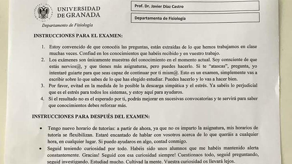 "Las ""instrucciones"" de Javi, profesor de Granada, premian ""la cultura del esfuerzo"""