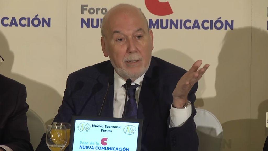 El director del diario 'La Vanguardia', Màrius Carol, durante su intervención en el Foro de la Nueva Comunicación el 13 de junio de 2018.