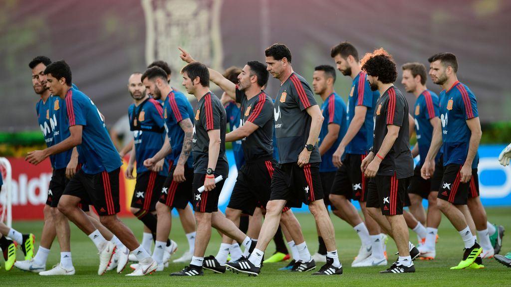 Primer entrenamiento de la selección española con Fernando Hierro como técnico, el 13 de junio de 2018.