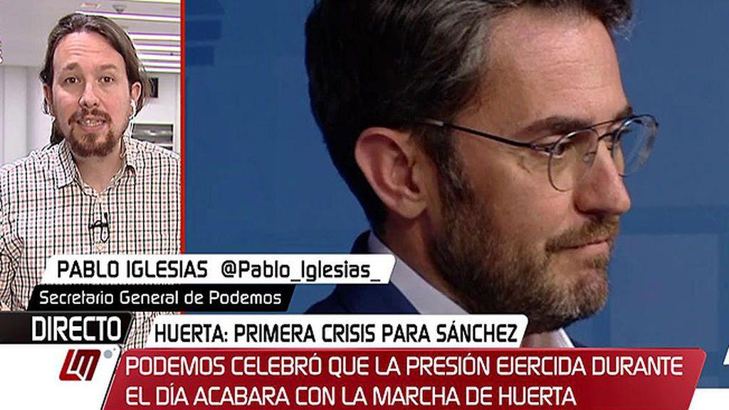 """Pablo Iglesias, de Màxim Huerta: """"Hay que dejar de llorar lágrimas de cocodrilo, de jaurías nada"""""""